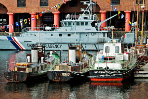 Boats tied up in Albert Dock during Mersey River Festival. Liverpool, England, September 2011. - Norma Brazendale