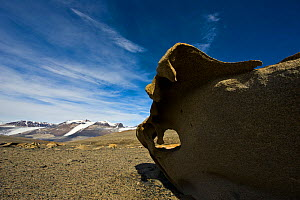 Ventefact, wind shaped rocks, in the Dry Valleys, Antarctica, December 2009. Taken on location for the BBC series, Frozen Planet.  -  Jeff Wilson