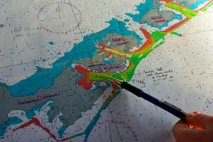 Nautical chart of the South Shetland Islands, South Atlantic, November 2008. Taken on location for the BBC series, Frozen Planet. - Jeff Wilson
