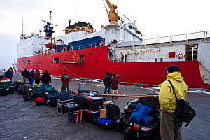 The Frozen Planet team waiting to board the United States Coastguard Cutter 'Healy' in Dutch Harbour, Alaska, USA, on their way to film Spectacled eider ducks in the Bering Sea, March 2008. Taken on l...  -  Jeff Wilson