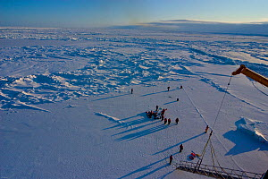 Aerial view of science teams and Frozen Planet film crew working on the sea ice in the Bering Sea, Alaska, USA, March 2008. The film crew were in search of Spectacled eider ducks, temperatures rarely...  -  Jeff Wilson