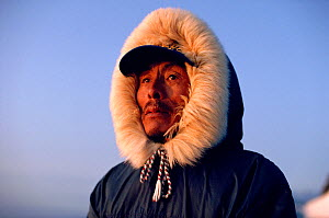 Portrait of Inuit hunter from Igloolik, Nunavut, Canada, 1992. 40 BELOW bookplate. - Bryan and Cherry Alexander
