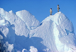Inuit hunters climbing an iceberg to scan sea-ice for game. Melville Bay, Northwest Greenland, 1980.   40 BELOW bookplate.  -  Bryan and Cherry Alexander