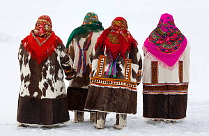 Khanty women in traditional dress at a Spring festival in the village of Pitlyar. Yamal, Western Siberia, Russia, 2006. 40 BELOW bookplate.  -  Bryan and Cherry Alexander