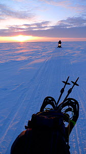 Travelling across Northern Canada on skidoos, Arctic circle, Taken on location for BBC Frozen Planet series, 2009 - Chadden Hunter