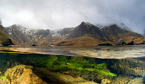 Split level image of Cwm Idwal and Llyn Idwal  showing lake and mountain habitat and lacustrine algae, Snowdonia NP, North Wales, UK, January 2010. Winner of the Living Landscape: Connectivity categor... - Graham Eaton