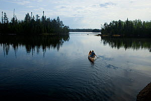 Canoe on Little Saganaga Lake in the Boundary Waters Canoe Area Wilderness at dawn, Minnesota, USA, Model released - Kirkendall-Spring