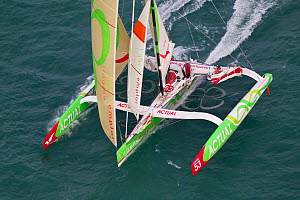 Aerial view of Multi 50 'Actual' at start of Transat Jacques Vabre, Le Havre, France, November 2011. All non-editorial uses must be cleared individually.  -  Benoit Stichelbaut