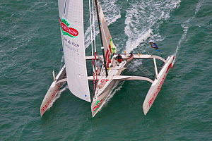 Aerial view of Multi 50 'Prince de Bretagne' at start of Transat Jacques Vabre, Le Havre, France, November 2011. All non-editorial uses must be cleared individually.  -  Benoit Stichelbaut