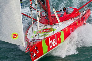 IMOCA open 60 'Groupe Bel' at start of Transat Jacques Vabre, Le Havre, France, November 2011. All non-editorial uses must be cleared individually.  -  Benoit Stichelbaut