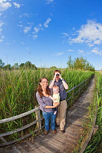 Family, couple with baby, birdwatching in reedbeds at Westhay SWT reserve, Somerset Levels, Somerset, England, UK, June 2011 Model released  -  Guy Edwardes / 2020VISION