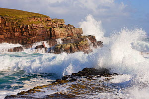Waves crashing over rocks, coastline near Point of Stoer, Assynt, Sutherland, NW Scotland, UK, October. Did you know? 20 million people visit UK coastlines each year.  -  Mark Hamblin / 2020VISION