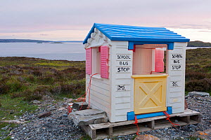 Plastic 'wendy house' serving as school bus stop, near Achiltibuie, Coigach and Assynt, Sutherland, Scotland, UK, June 2011  -  Niall Benvie / 2020VISION