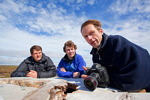 2020 Vision photographers being interviewed at RSPB Forsinard Flows, Caithness, Highland, Scotland, UK, June 2011. Lorne Gill, Fergus Gill and Mark Hamblin, Model released - Peter Cairns / 2020VISION