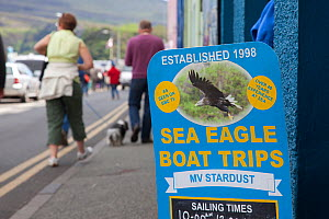 Tourist signs promoting boat trips and tourist exhibits based around the presence of White tailed sea eagles, Portree, Skye, Inner Hebrides, Scotland, UK, June 2011. 2020VISION Book Plate.  -  Peter Cairns / 2020VISION