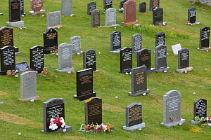 Gravestones in cemetery, North Uist, Western Isles / Outer Hebrides, Scotland, UK, May 2011  -  Peter Cairns / 2020VISION
