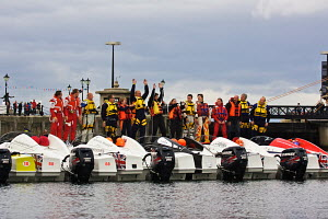 Competitors in the P250 Class gathered before race start. Day One, P1 Superstock Liverpool Grand Prix of the Sea, River Mersey, England, September 2011. - Graham Brazendale