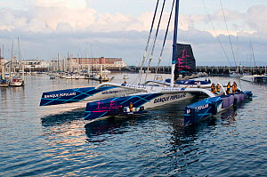Maxi-trimaran 'Banque Populaire V' departing Brest on Jules Verne Trophy attempt, France, November 2011. All non-editorial uses must be cleared individually.  -  Benoit Stichelbaut