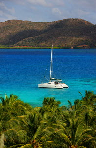 Catamaran moored near to Tortola Island, British Virgin Islands, April 2005. All non-editorial uses must be cleared individually.  -  Sea & See