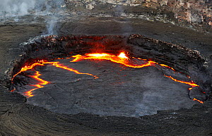 Aerial view of hot lava in the crater of the Erta ale volcano (the smoking mountain) in the Afar desert, Northern Ethiopia, February 2009 - Loic Poidevin