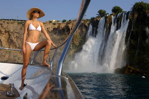 Woman on board Peri superyacht Quantum 29, Antalya, Turkey, July 2007.  For editorial use only.  -  Sea & See