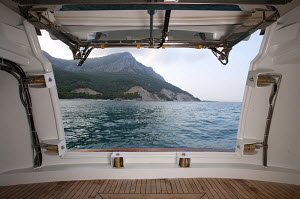 View out through stern hatchway on board Peri superyacht Quantum 29, Antalya, Turkey, July 2007.  For editorial use only. - Sea & See