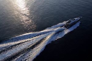Aerial view of Peri superyacht Quantum 29 cruising near Antalya, Turkey, July 2007.~ For editorial use only.  -  Sea & See