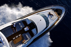 Aerial view of passengers relaxing on board Peri superyacht Quantum 29, Antalya, Turkey, July 2007.~ For editorial use only.  -  Sea & See