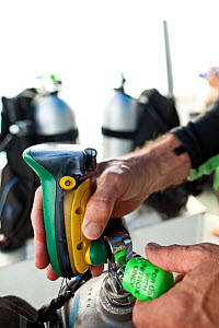Man checking nitrox meter and tank for oxygen percentage in preparation for dive. Palau, Indonesia, July 2010. Model released.  -  Michele Westmorland