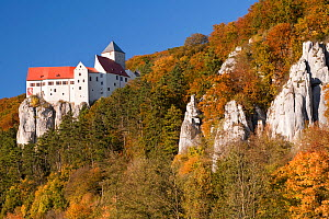 Prunn Castle in autumn. Altmuehl valley, Bavaria, Germany, October 2010. - Martin Gabriel