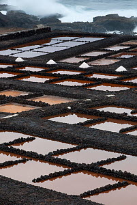 Evaporation ponds for production of salt. La Palma Island, Canary Islands, Spain, February 2010. - Martin Gabriel
