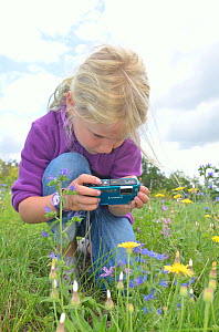 Child in garden photographing flowers and insects. France, Europe, August. Model released.  -  Dan Burton