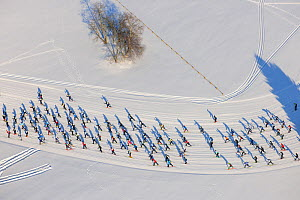 People in a cross-country skiing competition. Tartu, Estonia, Europe, February. - Sven Zacek