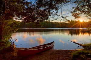 Canoe at sunrise on the shore next to Zack Woods Pond, Hyde Park, Vermont, USA. July 2010  -  Jerry Monkman