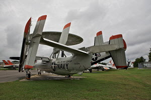 The Grumman E-2 Hawkeye, an American all-weather aircraft carrier-capable tactical airborne early warning aircraft, seen here in Patuxent River Naval Air Museum, Maryland, USA, September 2011. For non... - Graham Brazendale