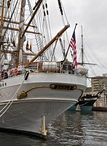 Three masted sailing barque 'Eagle', training cutter for the US Coast Guard. Baltimore Inner Harbour, Maryland, USA, October 2011. - Graham Brazendale