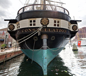 US Naval vessel USS 'Constellation'. Commissioned in 1855, she was the last sailing ship built by the US Navy, and is now anchored in Baltimore Inner Harbour. Maryland, USA, September 2011. - Graham Brazendale