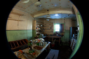 Inside abandoned research station on Detaille Island, Antarctica, February 2009, Taken on location for BBC Frozen Planet series - Kathryn Jeffs