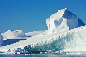 Compacted snow on slope of iceberg, Antarctica, February 2009, Taken on location for BBC Frozen Planet series  -  Kathryn Jeffs