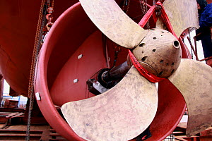 Trawler propeller in shipyard, Denmark, September 2011.  -  Philip Stephen