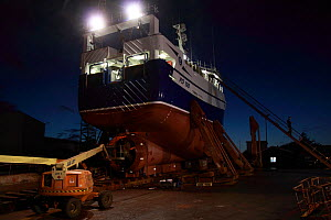 "Fishing vessel ""Ocean Harvest"" on slipway undergoing hull repairs in Skagen, Denmark, September 2011. Property released.  -  Philip Stephen"