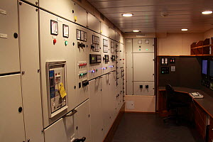 "Engine control room on board new fishing vessel ""Gollenes"", Skagen, Denmark, September 2011. - Philip Stephen"