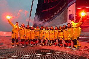"Crew of ""Banque Populaire V"" celebrating breaking the Jules Verne Trophy record in the time of 45 days, 13 hours, 42 minutes, and 53 seconds, beating the record previously held by ""Groupama 3"". Brest,...  -  Benoit Stichelbaut"