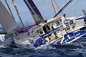 """Open 60 """"Banque Populaire"""" departing St Barthelemy at the beginning of the Transat BtoB, Caribbean, December 2011. All non-editorial uses must be cleared individually.  -  Benoit Stichelbaut"""