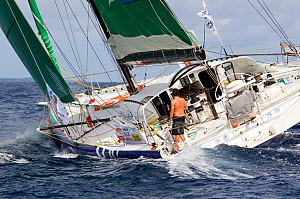 """Open 60 """"Bueau Vallee"""" departing St Barthelemy at the beginning of the Transat BtoB, Caribbean, December 2011. All non-editorial uses must be cleared individually.  -  Benoit Stichelbaut"""