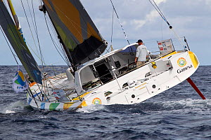 """Open 60 """"Gamesa"""" departing St Barthelemy at the beginning of the Transat BtoB, Caribbean, December 2011. All non-editorial uses must be cleared individually.  -  Benoit Stichelbaut"""