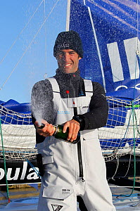 ^Banque Populaire^ skipper Armel le Cleac'h celebrating second place finish in the Transat BtoB, Lorient, France, December 2011. All non-editorial uses must be cleared individually. - Benoit Stichelbaut