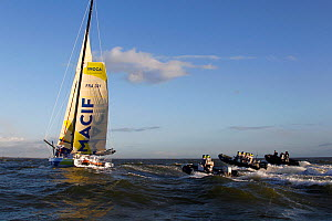 """Open 60 """"Macif"""" skippered by Francois Gabart finishing the Transat BtoB in first place, Lorient, France, December 2011. All non-editorial uses must be cleared individually.  -  Benoit Stichelbaut"""