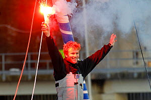 "Francois Gabart celebrating Transat BtoB win on board Open 60 ""Macif"". Lorient, France, December 2011. All non-editorial uses must be cleared individually. All non-editorial uses must be cleared indiv...  -  Benoit Stichelbaut"