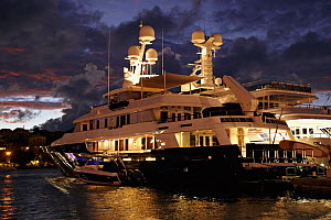 Superyacht moored in Gustavia Harbour at night, St Barthelemy, Caribbean, December 2011. For editorial use only. - Benoit Stichelbaut